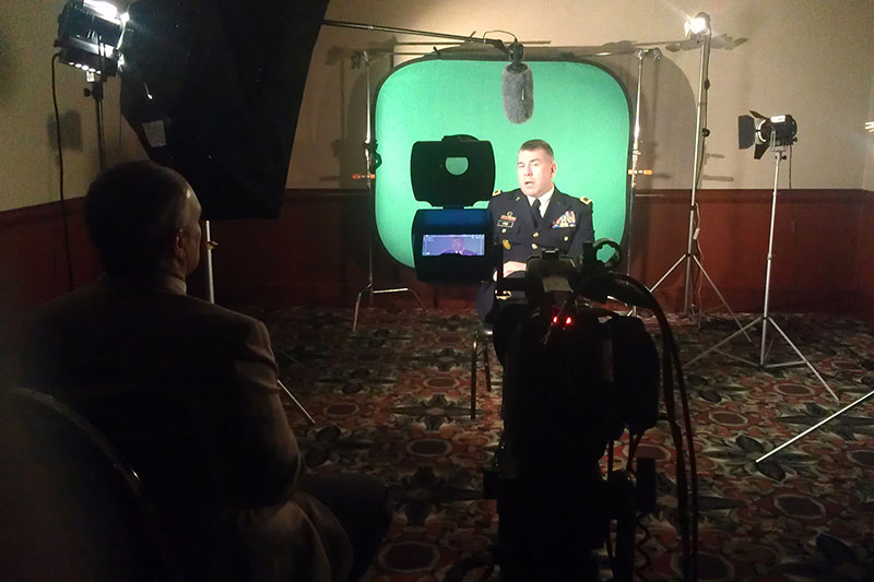 "Future Media recording interviews on portable green screen for use in the Michigan Conservative Energy Forum's video ""Energy Security = National Security""."