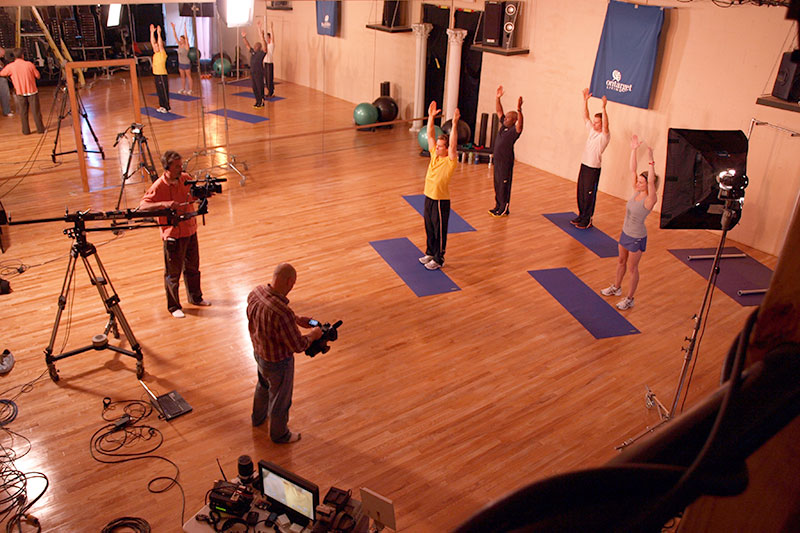 "Future Media crew filming OnTarget Living's ""Fitness"" exercise DVD program at the Ruhala Performing Art Center in East Lansing Michigan."