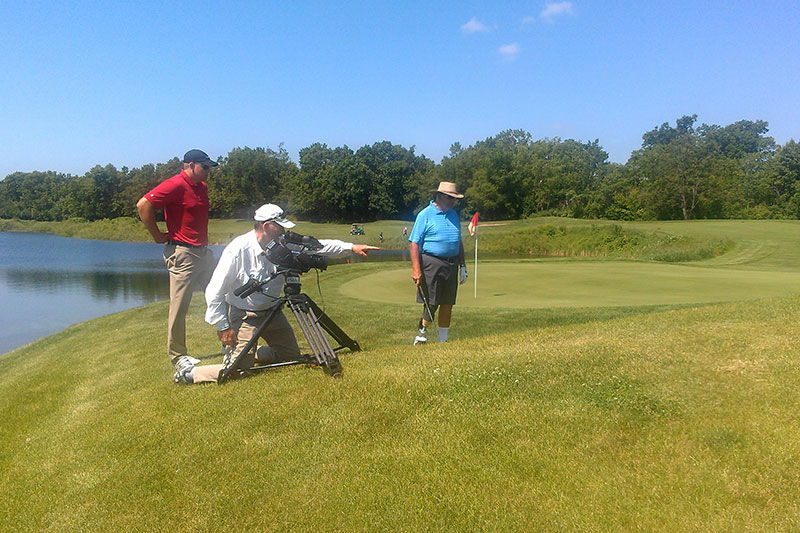 "Future Media crew directing the action on the golf course for Springer Prosthetics' video ""A 78 Year Old Bionic Man...""."