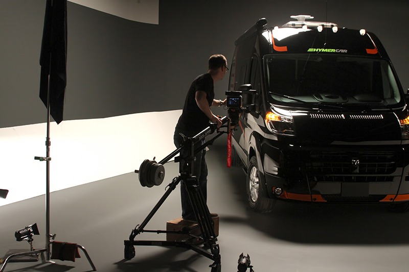Product video shoot in Future Media Corporation's 2400 square feet studio for Hymer.