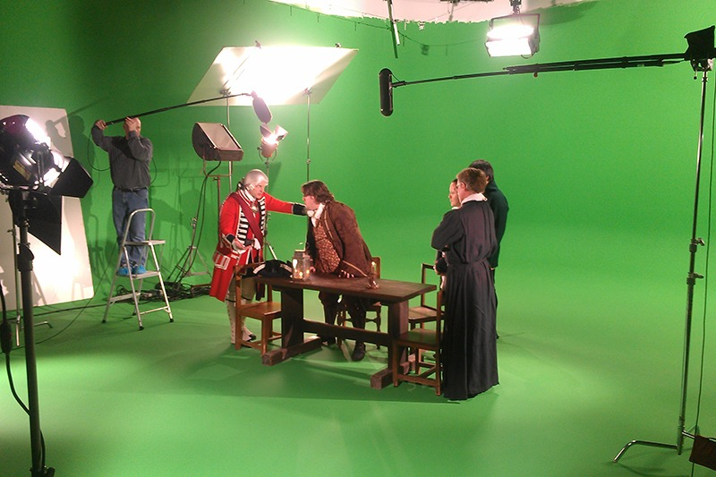 """Video green screen studio production in Future Media's 2400 square feet studio of the """"Attack at Michilimackinac"""" video for Mackinac State Historic Parks."""