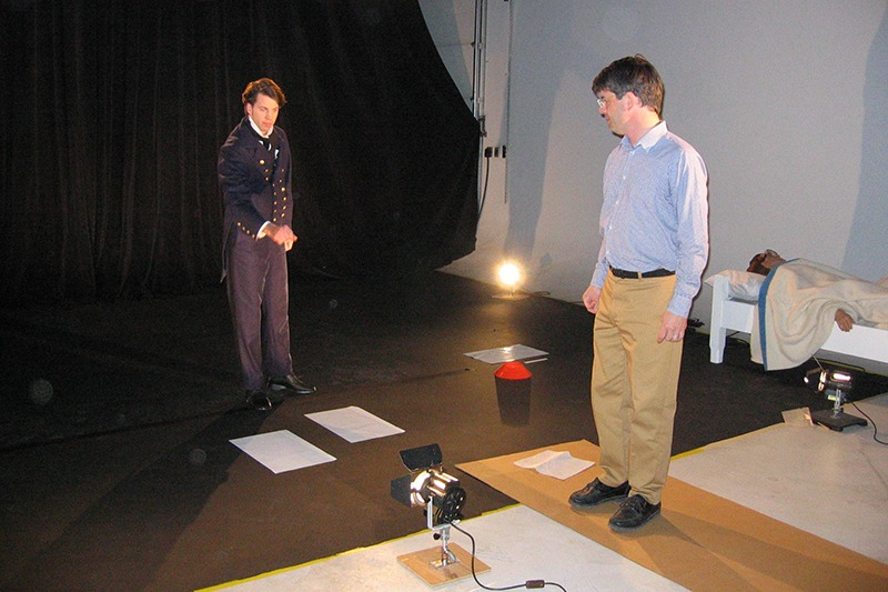 """Video production in Future Media's 2400 square feet studio of the """"Dr. Wolcott"""" kiosk video for Mackinac State Historic Parks."""