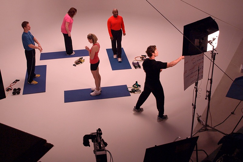 """Chris Johnson preping everyone for the OnTarget Living """"Exercise"""" video, recorded in Future Media Corporation's Studio."""