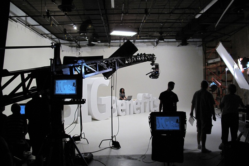 ZimmerFish and production crew on set at Future Media's A stage for a series of branding television spots for Cleary University.