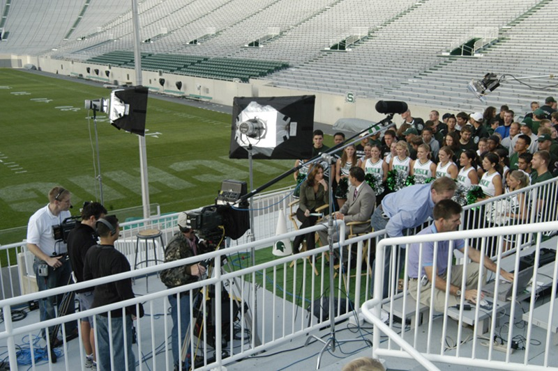"Future Media provided location video, audio and lighting services for ESPN's live program ""Cold Pizza"" at Michigan State University's football stadium."