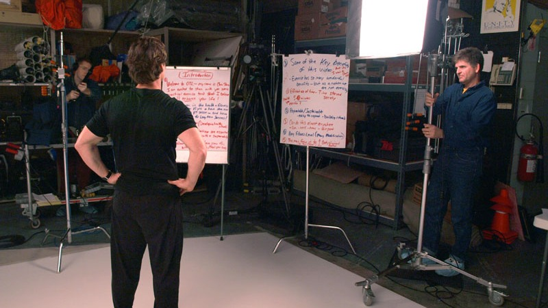 "Chris Johnson going over notes for the OnTarget Living ""Exercise"" video prior to recording in Future Media Corporation's Studio."