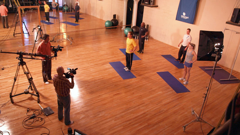 "Future Media Corporation's crew filming OnTarget Living's ""Fitness"" exercise DVD program at the Ruhala Performing Art Center in East Lansing Michigan."