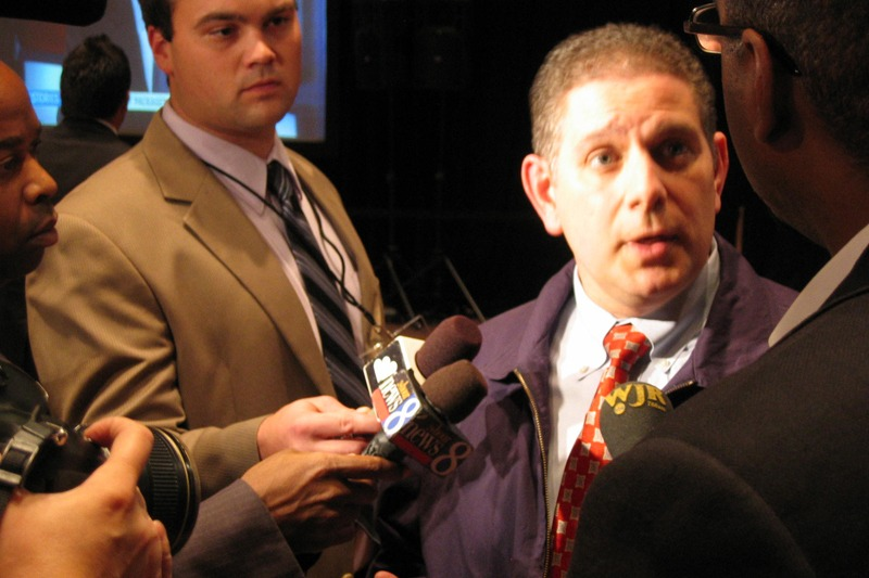 Lansing Mayor Virg Bernero talks to reporters after his concession speech for the 2010 Michigan Governor election race.