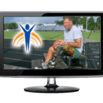 "Video monitor with Springer Prosthetics ""Active"" image, man with prosthetic leg siting a track/football field."