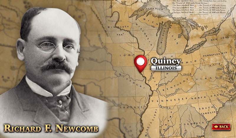 "The Historical Society of Quincy and Adams County Illinois - touch screen video – ""The Newcomb Building"", photo of Richard F. Newcomb"