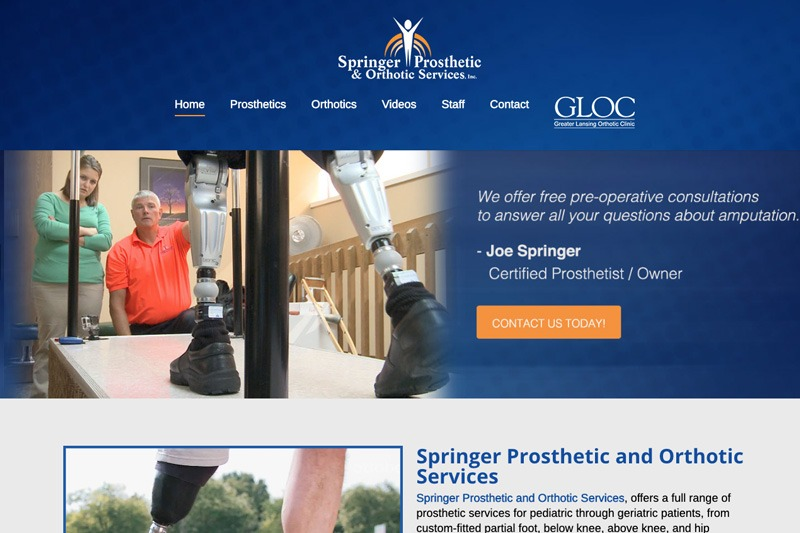 Springer Prosthetics Website, designed by Future Media Corporation